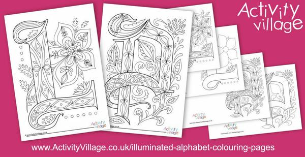 Illuminated alphabet colouring pages for L and P