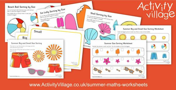 Seaside and Summer themed size sorting activities