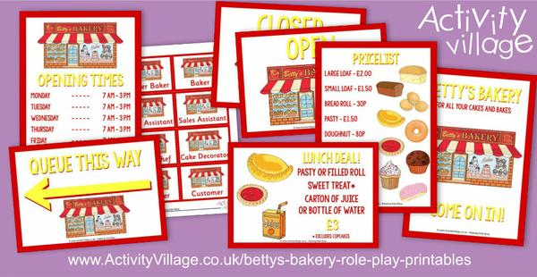 Our latest role play printables - Betty's Bakery!