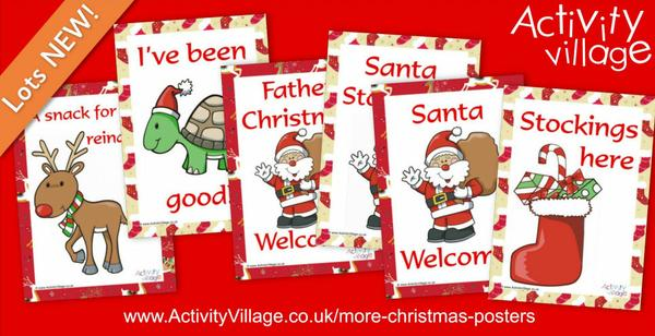 Colourful new Christmas signs or posters