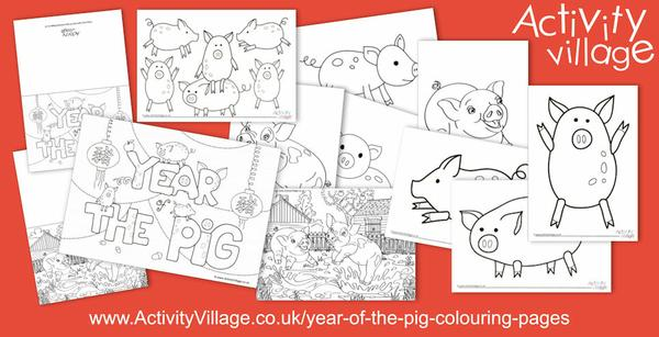 Even more new colouring pages for Year of the Pig