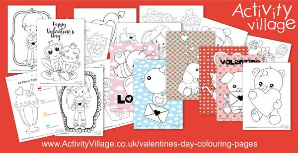 Even more Valentine's Day colouring pages