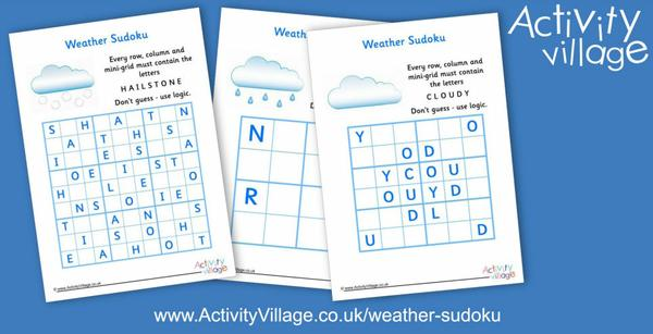 3 new weather word sudoku puzzles