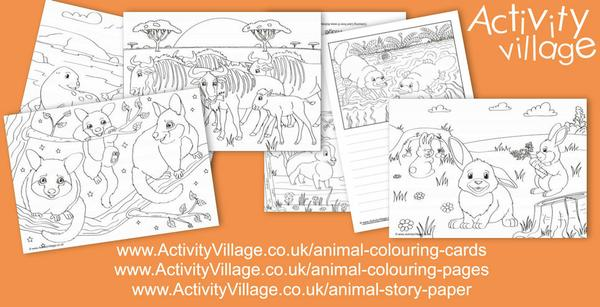 New animal colouring pages, colouring cards  and story paper