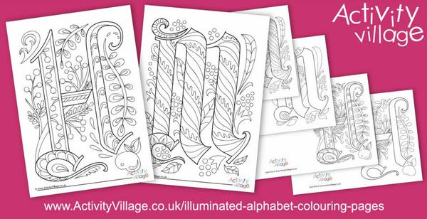 Beginning a new set of illuminated alphabet colouring pages and cards