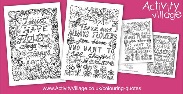 Lovely flower quotes for these lovely colouring quote pages and cards