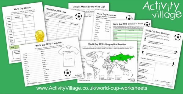 New World Cup worksheets for 2018