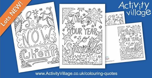 New motivational colouring quote pages for the New Year