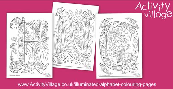 Illuminated alphabet colouring pages and cards for K, N and Q