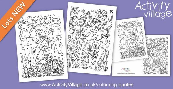 2 lovely new flower themed colouring quotes pages and cards