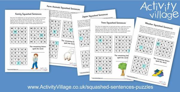More squashed sentences puzzles