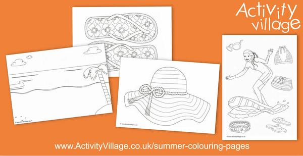 Beach vibe summer colouring pages