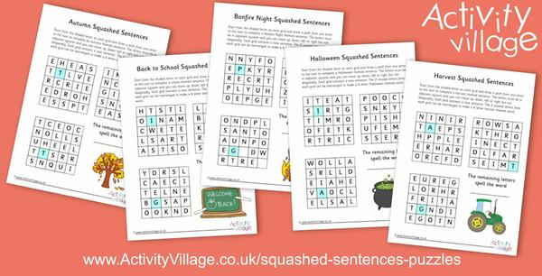 Another batch of squashed sentences puzzles