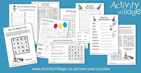 The kids will need to get their thinking caps on for this collection of New Year puzzles!