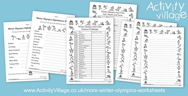 A collection of new Winter Olympics worksheets and frames