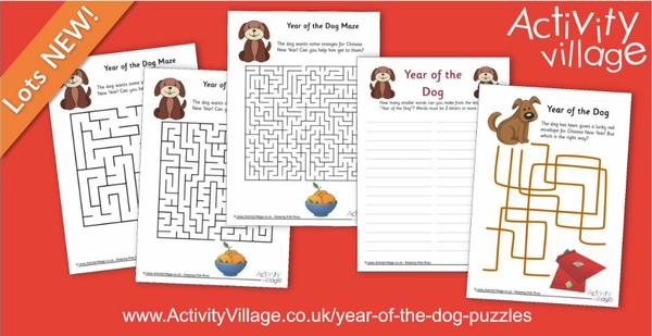 New Year of the Dog puzzles and mazes