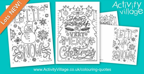 2 pretty new colouring quote pages and cards for winter and Christmas