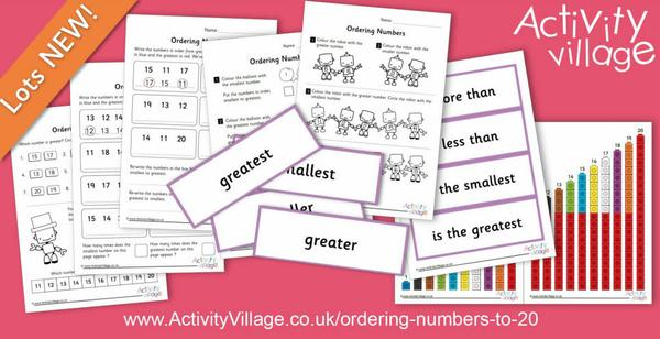 New resources for ordering numbers to 20
