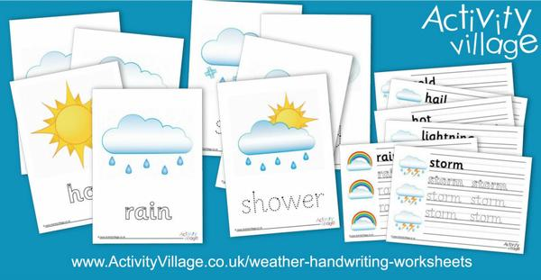 Handwriting worksheets featuring weather words