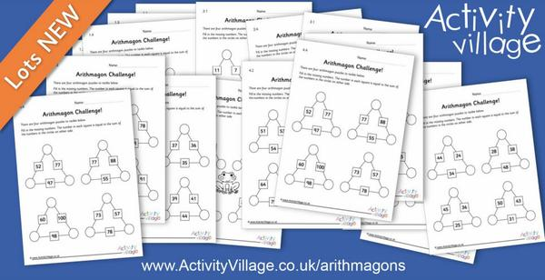 64 new arithmagon puzzles to challenge the kids!
