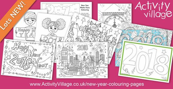 Gearing up for 2018 with these New Year colouring pages