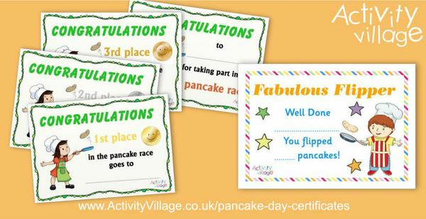 Useful Pancake Day certificates for races and flipping contests!