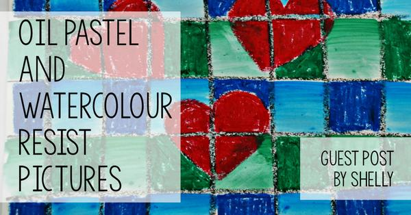 Guest Post - Oil pastel and watercolour resist pictures with a heart theme