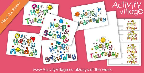 Have you seen our happy greetings cards and posters for the days of the week?