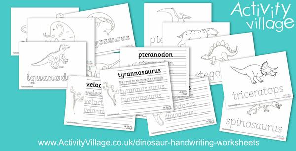 New dinosaur handwriting worksheets
