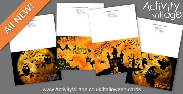 Print a card to wish friends and family a Happy Halloween