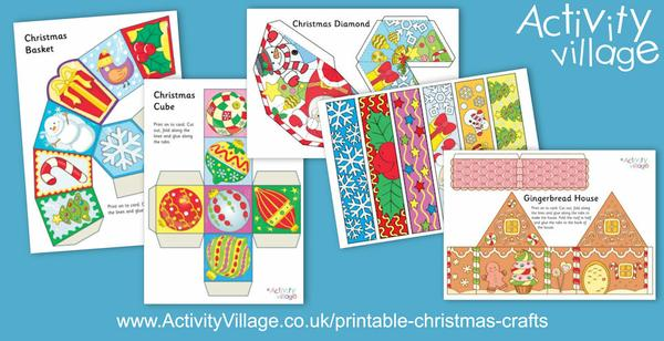 Pretty printable Christmas crafts, available in black and white and colour