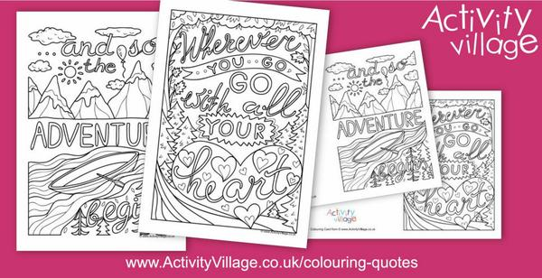 A travel theme for our colouring quotes this week