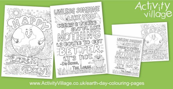 Two new Earth Day colouring pages