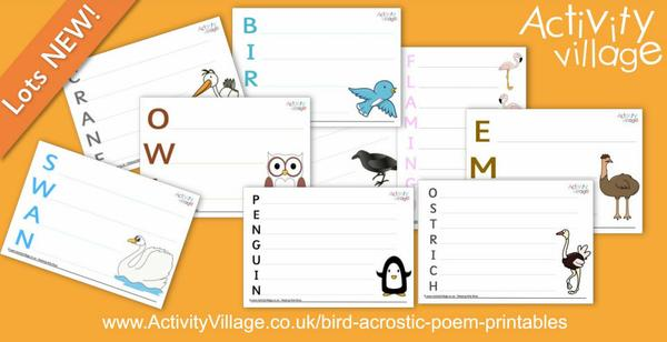 New acrostic poetry printables with a bird theme