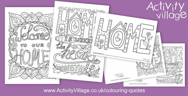 "This week's colouring quotes have ""Home"" as the theme"