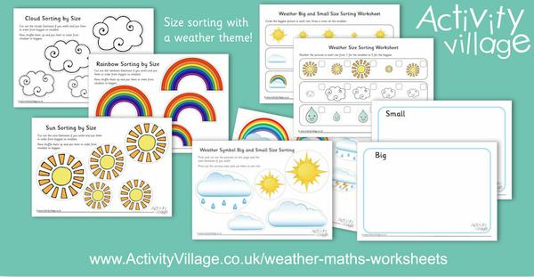 "Sort by size order and by ""big"" and ""small"" with these pretty new size sorting activities with a weather theme."