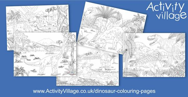 New dinosaur colouring pages for older children