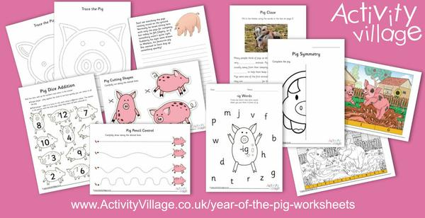 New pig-themed worksheets spanning a range of ages and skills