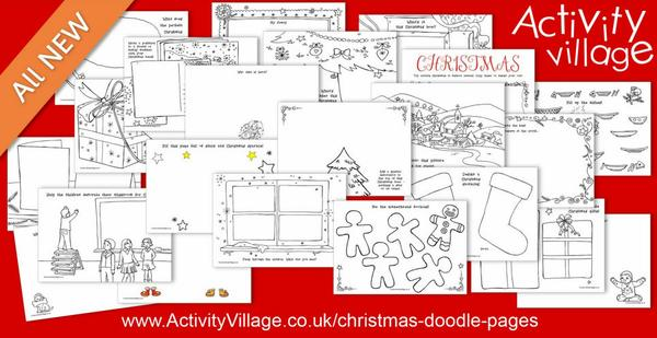Christmas doodle pages for imaginative fun