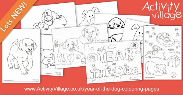 New Year of the Dog colouring pages - and puppies too!