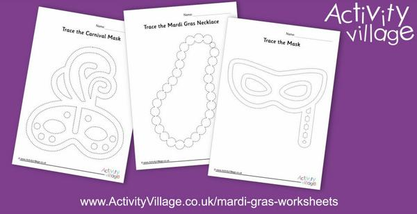New Mardi Gras tracing pages for pencil control practice