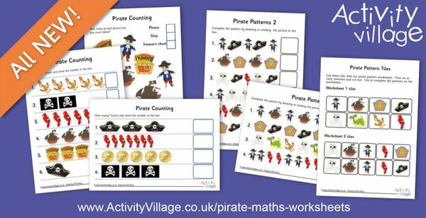 New counting and pattern worksheets with lovely pirate pictures