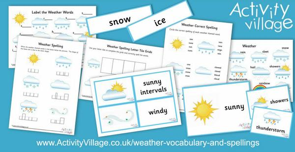 New weather vocabulary and spellings