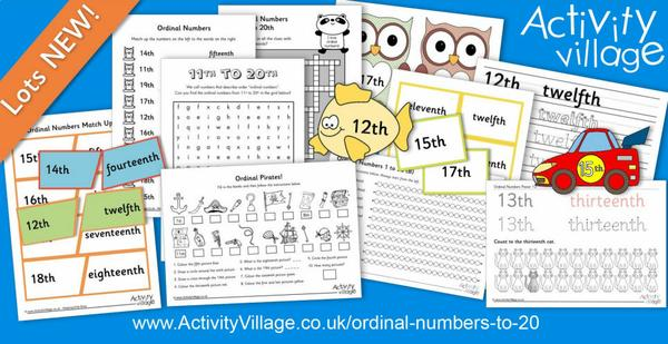 New printables, puzzles and worksheets for learning ordinal numbers up to 20