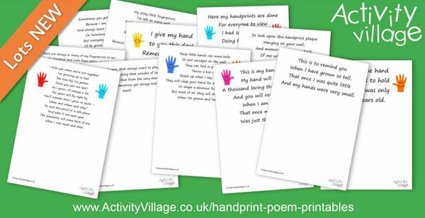 12 new hand print poem printables for making memories
