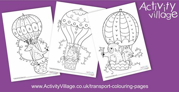 Topping up our transport colouring pages with pretty hot air balloons!