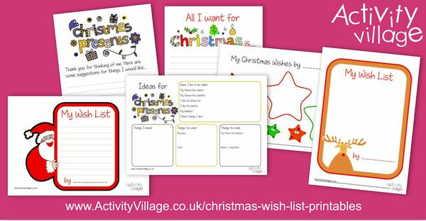 Christmas wish list printables