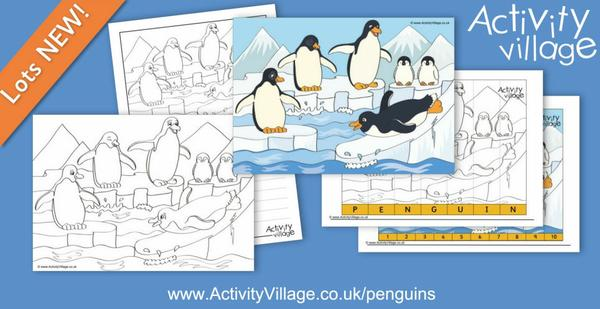 New penguin scene activities - colouring, poster, story paper and early learning jigsaws