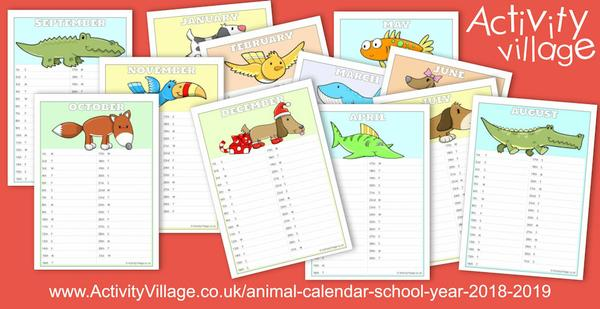 An animal calendar for the school year 2018 -2019