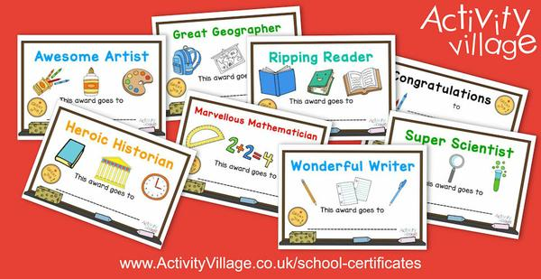 Bright and cheerful new school certificates